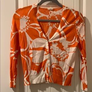 JCrew orange and white floral cardigan